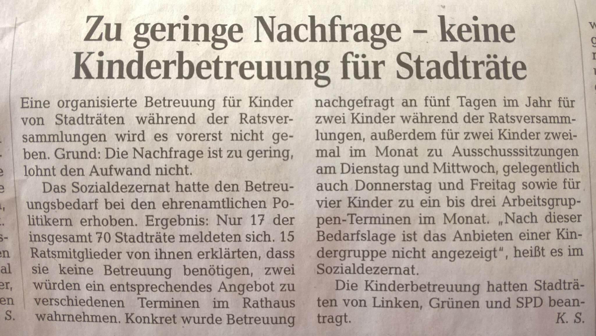 Stadtratskita in Leipzig scheitert an geringem Bedarf, Quelle: LVZ