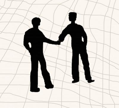 Menschen | 2 Menschen geben sich die Hand | Grafik (c) Stephanie Hofschlaeger  / pixelio.de