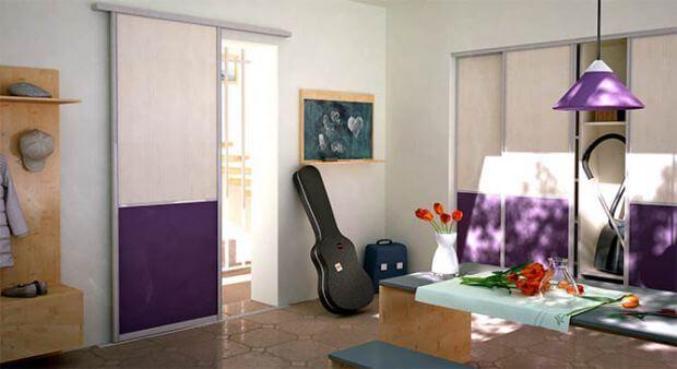 Raumteiler_schiebetuer_lila - www.deineschiebetuer.de