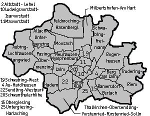 Karte Stadt München mit Ortsgliederung (c) familienkatalog-muenchen.de