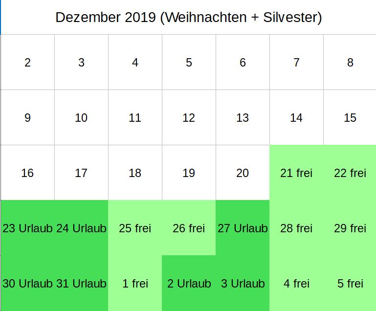 Brückentage Dezember 2019 (c) familienfreund KG