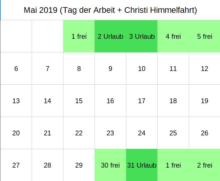Brückentage Mai 2019 (c) familienfreund KG